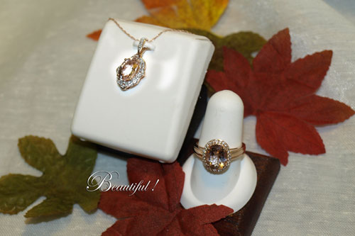 <b>Description: </b>14kt Rose gold morganite and diamond ring and pendant