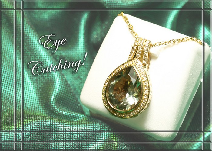 <b>Description: </b>14KTY Ladies 5CT Green Amethyst/.28 Pt Diamond Pendant.(Call or e mail for price and details.)