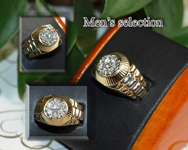 <b>Description: </b>14KTT Gents Diamond Ring.(Call or e mail for price and details.)