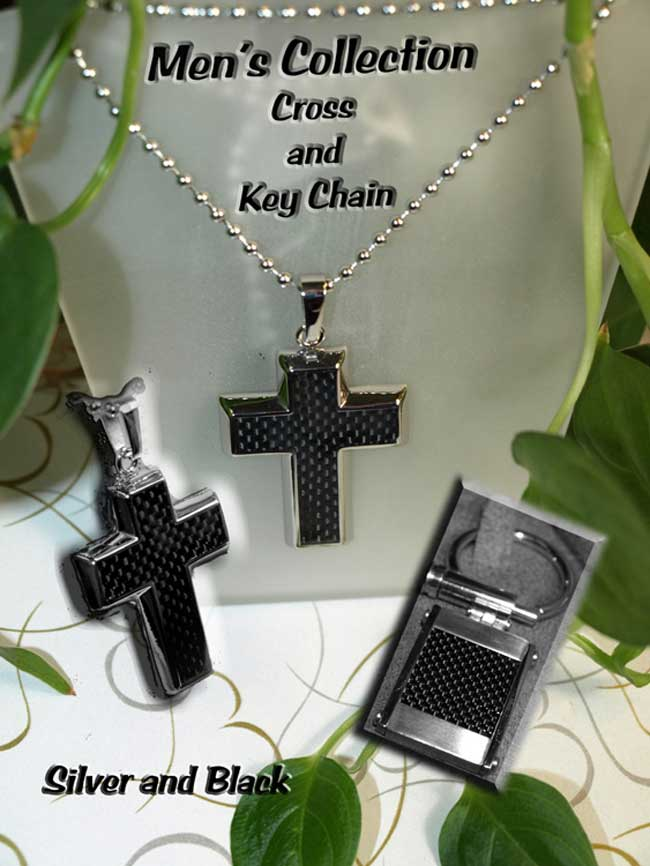 <b>Description: </b>Gents Stainless Steel and Black Carbon Cross and Key Chain.(Call or e mail for price and details.)
