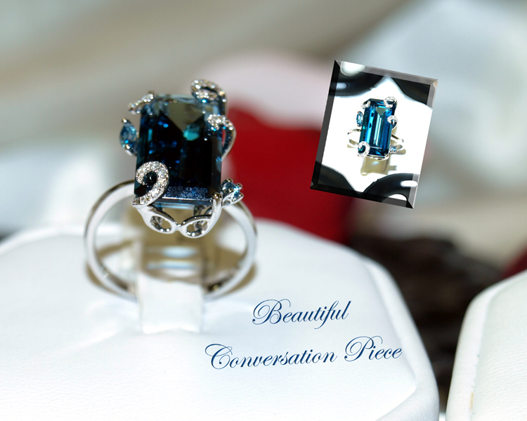 <b>Description: </b>14kw Blue Topaz and Diamond Ring - Call for pricing