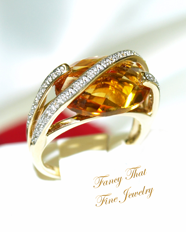 <b>Description: </b>14ky Citrine and Diamond Ring - Call for pricing
