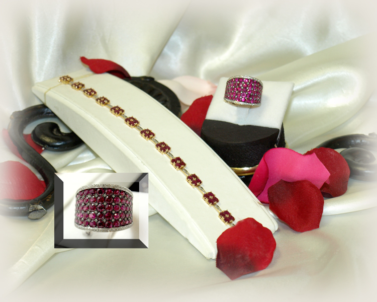 <b>Description: </b>14ky ruby and diamond bracelet and ruby and diamond ring - Call for pricing