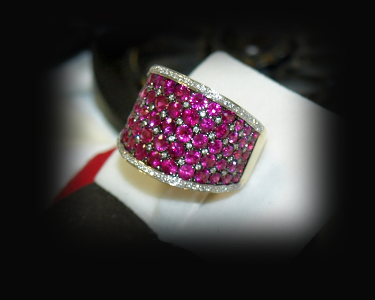<b>Description: </b>14ky ruby and diamond ring - Call for pricing