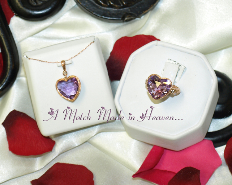 <b>Description: </b>14k rose gold amethyst diamond heart pendant and ring - Call for pricing