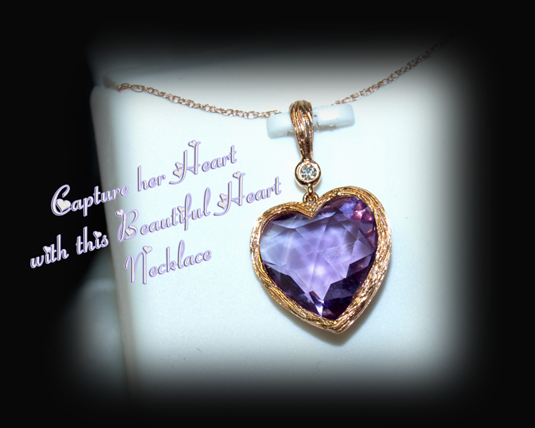 <b>Description: </b>14k rose gold amethyst and diamond heart pendant - Call for pricing
