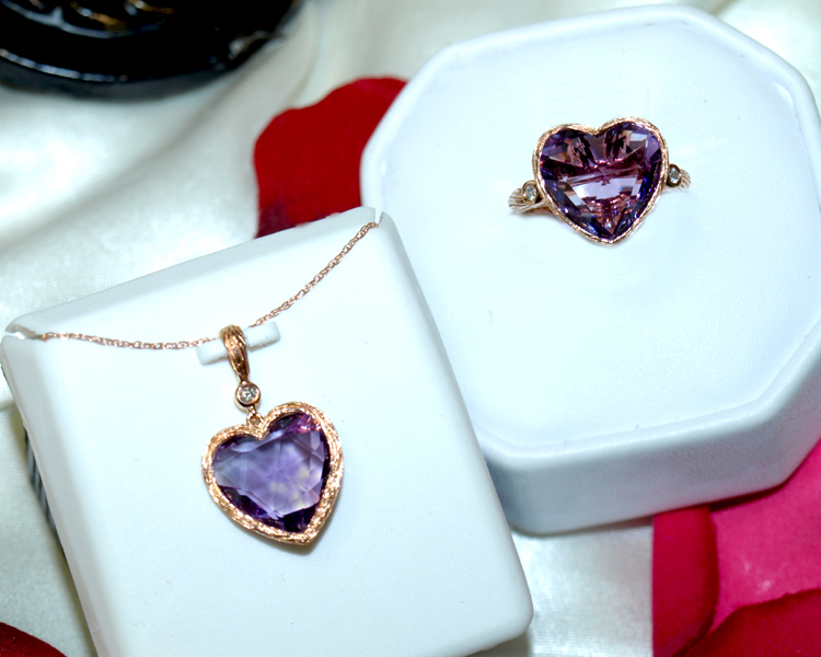<b>Description: </b>14k rose gold amethyst and diamond heart ring - Call for pricing