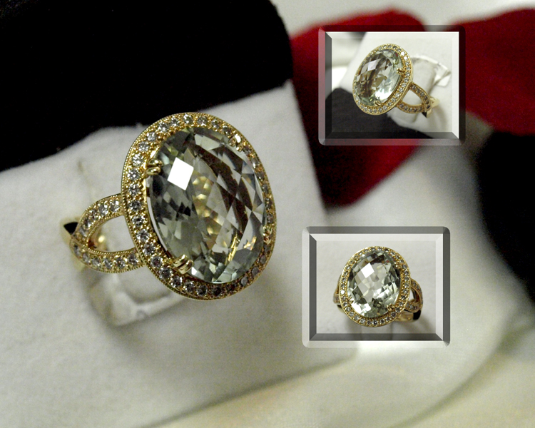 <b>Description: </b>14ky green amethyst and diamond ring - Call for pricing